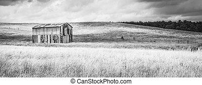 Old Metal Barn in a Field B&W