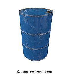 Old metal blue barrel. Isolated. 3D render.