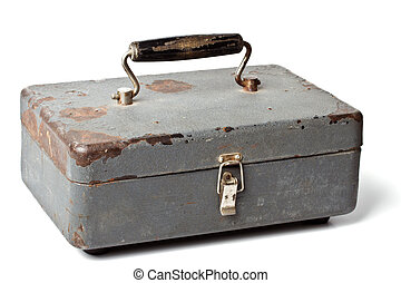 Old metal box isolated