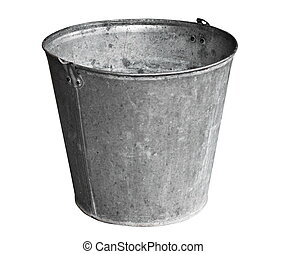 Old metal bucket isolated on white