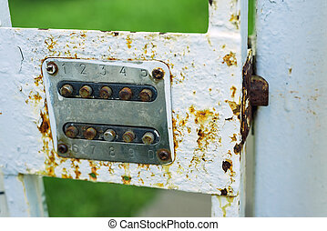 Old metal combination lock