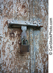 old metal door with lock