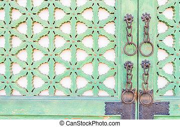 Old metal handle door