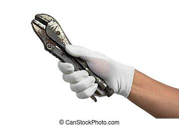old metal locking pliers in hand