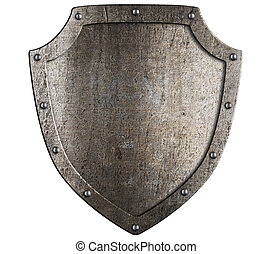 Old metal medieval shield. Crest template.