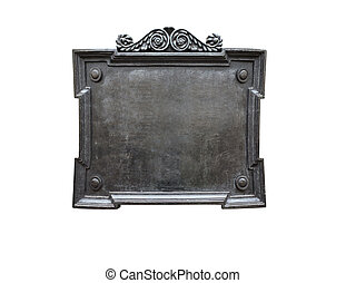 Blank old metal plaque isolated on white background