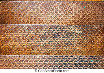 old metal rusty stage - three metal textured rusty yellow...