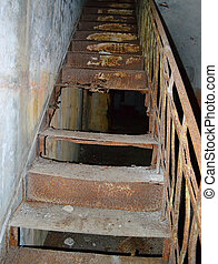 Old metal rusty stair in old fort Totleben - Old metal rusty...