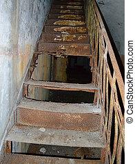 Old metal rusty stair in old fort Totleben - Old metal rusty...
