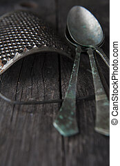 old metal spoons