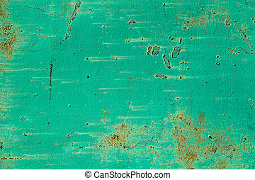Old metal surface painted with green paint