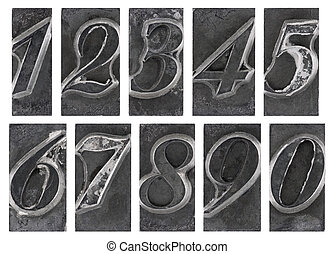 Old metal type numbers