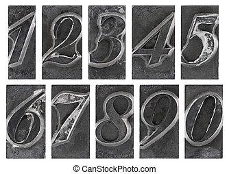 Old metal type numbers