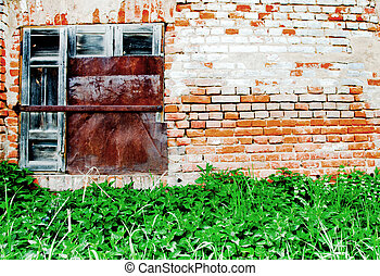 Old metal window and wall with bricks