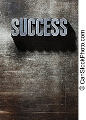 Old Metallic Letters:Success - metal background