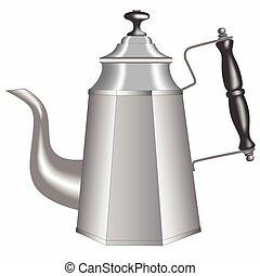 Old metallic teapot isolated on white background