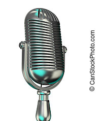 Old microphone - An old chromed microphone on white...