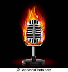Old Microphone in Fire. Illustration on black background