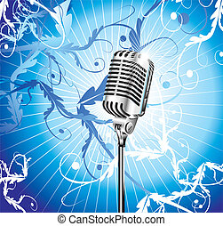 Old Microphone Music Background - Chromed microphone for...