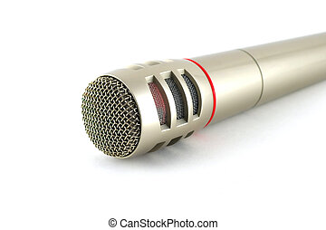 Old microphone over white
