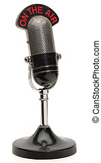 old microphone - old broadcast microphone on white...