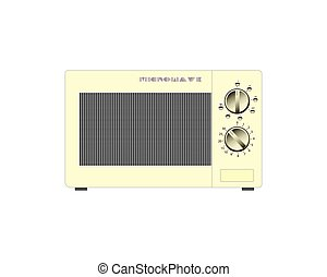 Old microwave on a white background. Vector illustration.
