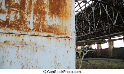Old military airplane in the hangar - Old Soviet military...