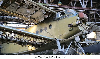 Old military airplane in the hangar
