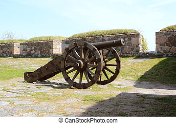 Old military cannon on sea fortress Suomenlinna - Old ...