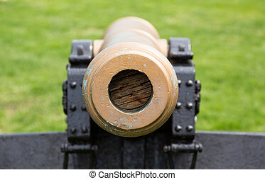 Old military cannon pointing straight at viewer - Detail of...