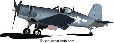 Old military combat. Plane. Air fo