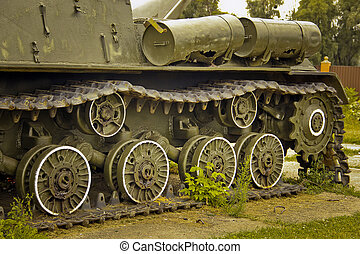 Old military equipment. Abstract photo. Old tank