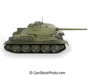 Old military heavy tank - side view