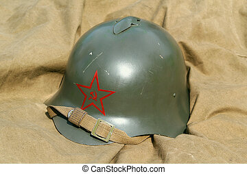Old military helmet - Old Soviet military helmet with a...