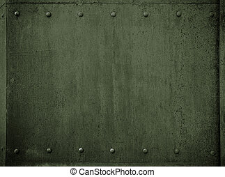 old military metal green armor background with rivets