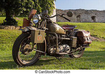 old military motorcycle from WWII