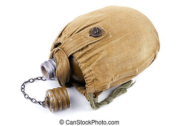 Old military soldiers hiking flask