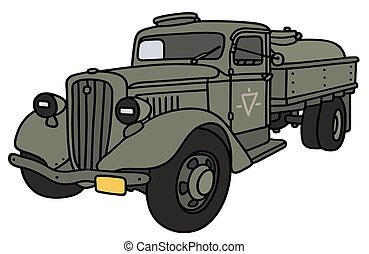 Old military tank truck - Hand drawing of an old military...