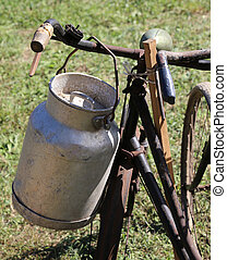 old Milk Canister used by farmers to carry fresh milk - old...