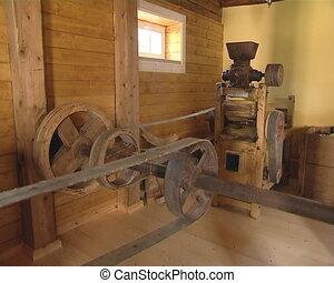 Old mill equipment. Grain milling.