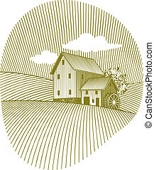Old Mill - Woodcut style illustration of an old mill.