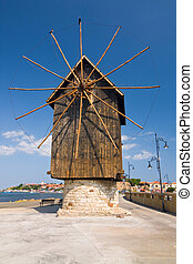 Old mill on the entrance of old Bulgarian town Nessebar
