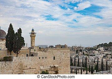 Old minaret tower in Jerusalem old city