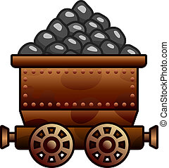 Old mine cart with coil - Iron mine cart with coil for your ...