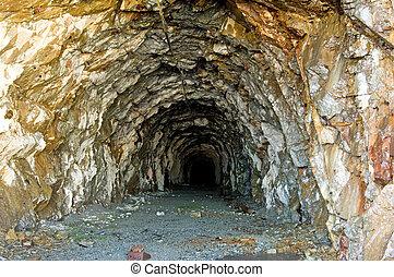 Old mine - Old gold mine tunnel around Salmon Glacier,...