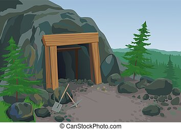 Old mine with shovel and pick - Old mine landscape vector...