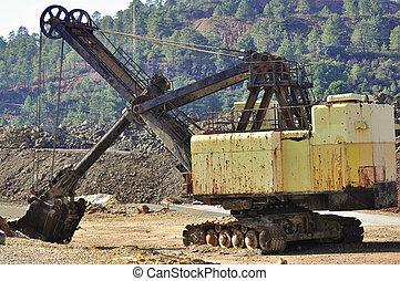 Old mining big machines backhoe