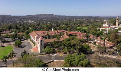 Old Mission Santa Barbara birdseye view from drone circling building. High quality 4k footage