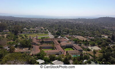 Old Mission Santa Barbara birdseye view from drone perspective, wide shot.