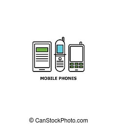 Old mobile phones recycle concept icon in line design,...